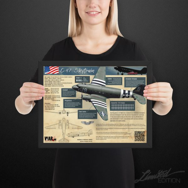 C-47 Skytrain Infographic | Framed Limited Edition | 12x16 in