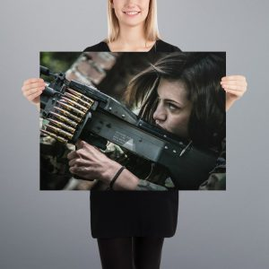 Women with Machine Gun Matte Poster 18x24